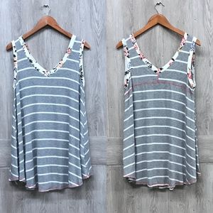 Infinity Raine Gray Striped Loose Fit Tunic BB189